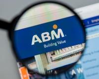 Milan Italien - Augusti 10, 2017: Homepage för ABM-branschwebsite Royaltyfria Foton