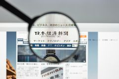 Milan Italien - Augusti 10, 2017: Nikkei websitehomepage Det är N Royaltyfri Foto