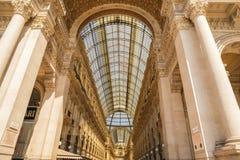 MILAN ITALIEN - 13-05-2017: Galleria Vittorio Emanuele II i Mila Arkivfoton