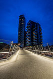 MILAN ITALIEN, JUNI 18 2014: nytt Porta Nuova bostads- område, nattplats Fotografering för Bildbyråer