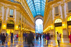 Milan Italien - Maj 03, 2017: Glass kupol av Galleria Vittorio Emanuele i Milan, Italien Arkivbild