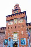 Milan Italien - Maj 03, 2017: Slotten för Sforza ` s i Milan Royaltyfria Bilder