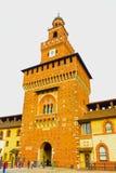 Milan Italien - Maj 03, 2017: Slotten för Sforza ` s i Milan Arkivbild