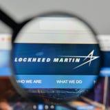 Milan Italien - November 1, 2017: Lockheed Martin logo på rengöringsduken Royaltyfri Foto