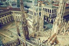 Milan Italien. Sikt på kunglig slott arkivbilder