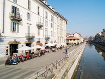MILAN-ITALY-03 12 2014, зона канала Navigli воды passe Стоковое Фото