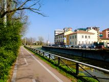 MILAN-ITALY-03 12 2014年,凋谢水Navigli的运河的区域  免版税图库摄影