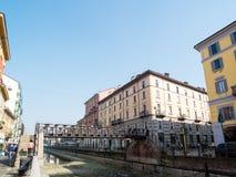MILAN-ITALY-03 12 2014年,凋谢水Navigli的运河的区域  库存照片