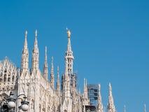 MILAN-ITALY-03 12 2014年, Piazza del Duomo,哥特式大教堂与 库存图片
