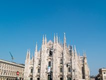 MILAN-ITALY-03 12 2014年, Piazza del Duomo,哥特式大教堂与 库存照片