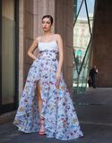 MILAN, Italy: 19 February 2020: Fashion bloggers and models street style outfits