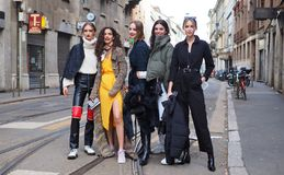 MILAN, Italy: 24 February 2019: Fashion bloggers street style outfits