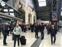 MILAN, ITALY - APRIL 9 2018 - Milan Central railway station crow. MILAN, ITALY - APRIL 9 2018 - Milan Central railway station built in 1931 complitely renewed Stock Photos