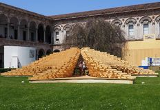 MILAN, ITALY-APRIL, 21, 2018: design elements displayed on the historical courtyard of the Statale University,at Fuori Salone stock photo