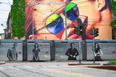 Milan , Italy: April 22, 2019: Historic tram in Milan. stock photography