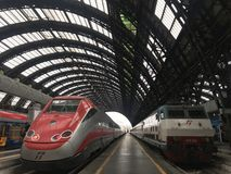 MILAN, ITALY - APRIL 9 2018 - Milan Central railway station crow. MILAN, ITALY - APRIL 9 2018 - Milan Central railway station built in 1931 complitely renewed Royalty Free Stock Photo