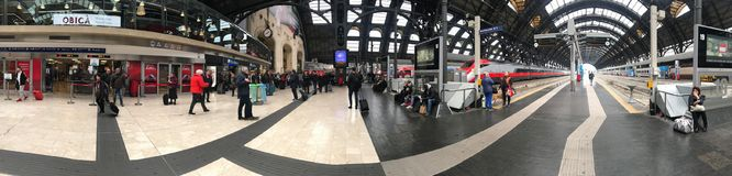 MILAN, ITALY - APRIL 9 2018 - Milan Central railway station crow. MILAN, ITALY - APRIL 9 2018 - Milan Central railway station built in 1931 complitely renewed Royalty Free Stock Image