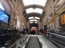 MILAN, ITALY - APRIL 9 2018 - Milan Central railway station crow. MILAN, ITALY - APRIL 9 2018 - Milan Central railway station built in 1931 complitely renewed Royalty Free Stock Photography