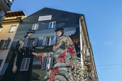 Gucci has mounted a mural today on Corso Garibaldi s Largo la Foppa, in Milan, Italy, as part of the brand s Spring Summer 2018. Milan, Italy - April 1st, 2018 royalty free stock image