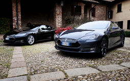 MILAN , ITALY - APRIL  21 2016 : tesla model S car parked in old Royalty Free Stock Photo