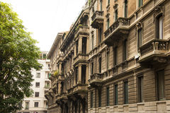 Milan Italy architecture. Big buildings in Milan Italy on the street outside view details architecture stock photos