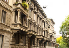Milan Italy architecture. Big buildings in Milan Italy on the street outside view details architecture stock image