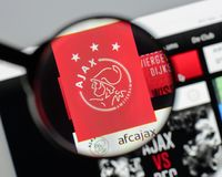 Milan, Italy - August 10, 2017: AFC Ajax Amsterdam website homep. Age. It is a Dutch professional football club. AFC Ajax logo visible Stock Images