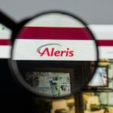 Milan, Italy - August 10, 2017: Aleris website homepage. It is o. Ne of the larger private companies in the United States. Aleris logo visible stock photos