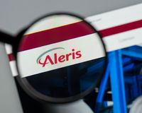 Milan, Italy - August 10, 2017: Aleris website homepage. It is o. Ne of the larger private companies in the United States. Aleris logo visible stock image