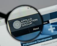 Milan, Italy - August 10, 2017: Apollo Education Group logo on t. He website homepage stock image