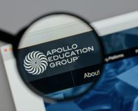 Milan, Italy - August 10, 2017: Apollo Education Group logo on t. He website homepage stock images