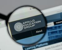 Milan, Italy - August 10, 2017: Apollo Education Group logo on t. He website homepage stock photography