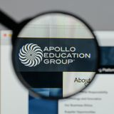 Milan, Italy - August 10, 2017: Apollo Education Group logo on t. He website homepage royalty free stock photo