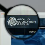Milan, Italy - August 10, 2017: Apollo Education Group logo on t. He website homepage royalty free stock photography