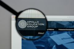 Milan, Italy - August 10, 2017: Apollo Education Group logo on t. He website homepage stock photos