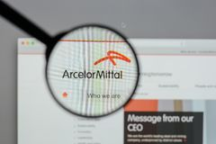 Milan, Italy - August 10, 2017: Arcelor Mittal logo on the websi. Te homepage Royalty Free Stock Photos