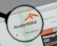 Milan, Italy - August 10, 2017: Arcelor Mittal logo on the websi. Te homepage Stock Photos