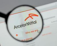 Milan, Italy - August 10, 2017: Arcelor Mittal logo on the websi. Te homepage Royalty Free Stock Photo