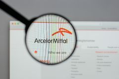Milan, Italy - August 10, 2017: Arcelor Mittal logo on the websi. Te homepage Royalty Free Stock Images