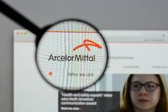 Milan, Italy - August 10, 2017: Arcelor Mittal logo on the websi. Te homepage Stock Photo