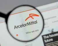 Milan, Italy - August 10, 2017: Arcelor Mittal logo on the websi. Te homepage Royalty Free Stock Image