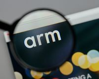 Milan, Italy - August 10, 2017: ARM Holdings logo on the websit. Milan, Italy - August 10, 2017: ARM Holdings Stock Photo