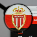 Milan, Italy - August 10, 2017: AS Monaco logo on the website ho. Mepage Stock Images