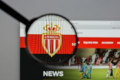 Milan, Italy - August 10, 2017: AS Monaco logo on the website ho. Mepage Royalty Free Stock Photo
