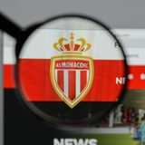Milan, Italy - August 10, 2017: AS Monaco logo on the website ho. Mepage Royalty Free Stock Photography