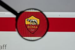 Milan, Italy - August 10, 2017: AS Roma logo on the website home. Page Royalty Free Stock Photo