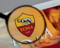 Milan, Italy - August 10, 2017: AS Roma logo on the website home. Page Royalty Free Stock Images