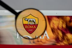 Milan, Italy - August 10, 2017: AS Roma logo on the website home. Page Royalty Free Stock Photography