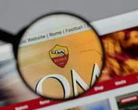 Milan, Italy - August 10, 2017: AS Roma logo on the website home. Page Royalty Free Stock Photos