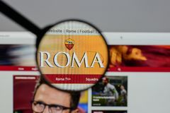 Milan, Italy - August 10, 2017: AS Roma logo on the website home. Page Stock Photography
